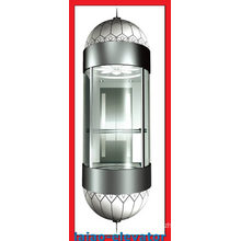 Panoramic Lift with Mirror Stainless Steel Ceiling with 1 Fan, LED Soft Lights, 4 Set